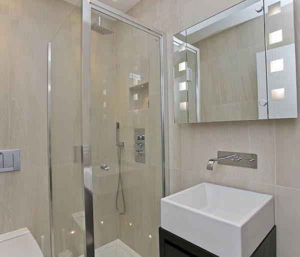 interior design for bathroom in neutral colours in London