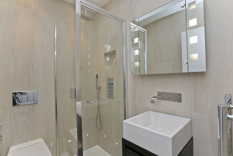 interior design for bathroom in neutral colours in London