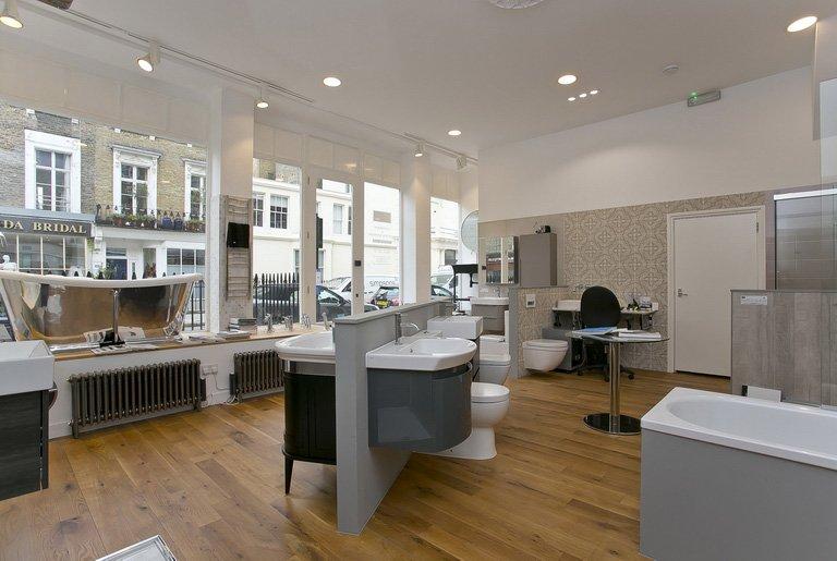 spacious bathroom showroom in Pimlico, London