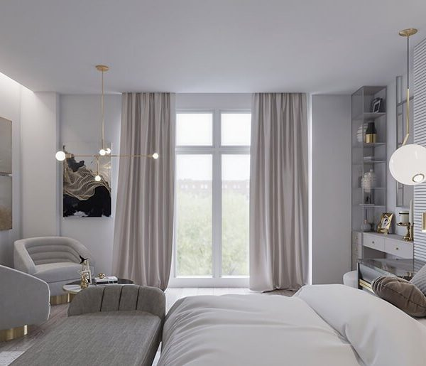 luxury and stylish light master bedroom with designer furniture in Woodside Avenue, London