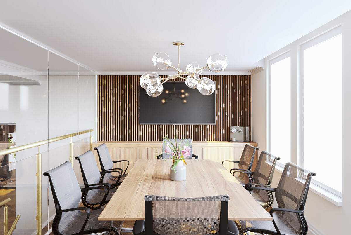 luxury and modern office design and fit out with spacious workplace in Chelsea, London