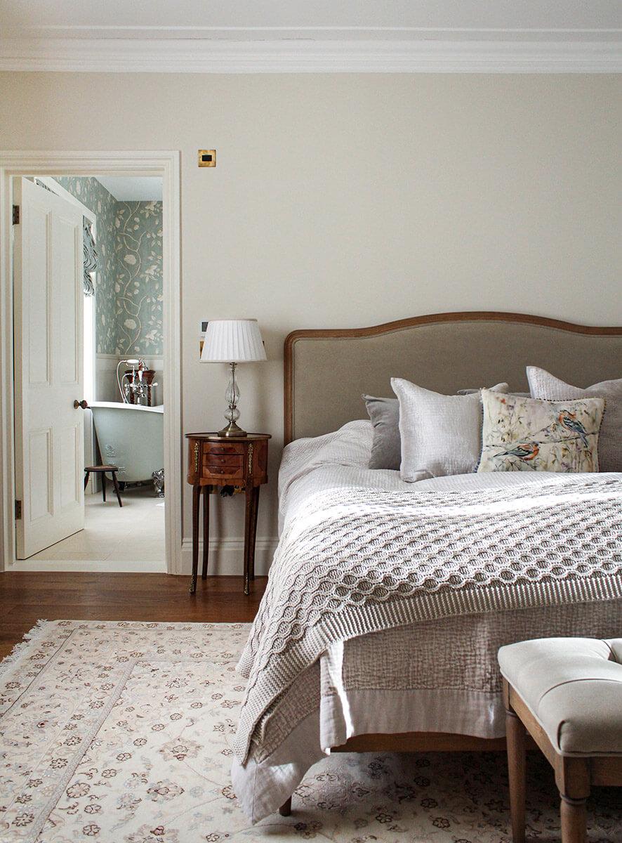 residential interior design for elegant bedroom in victorian style in St John's wood, London