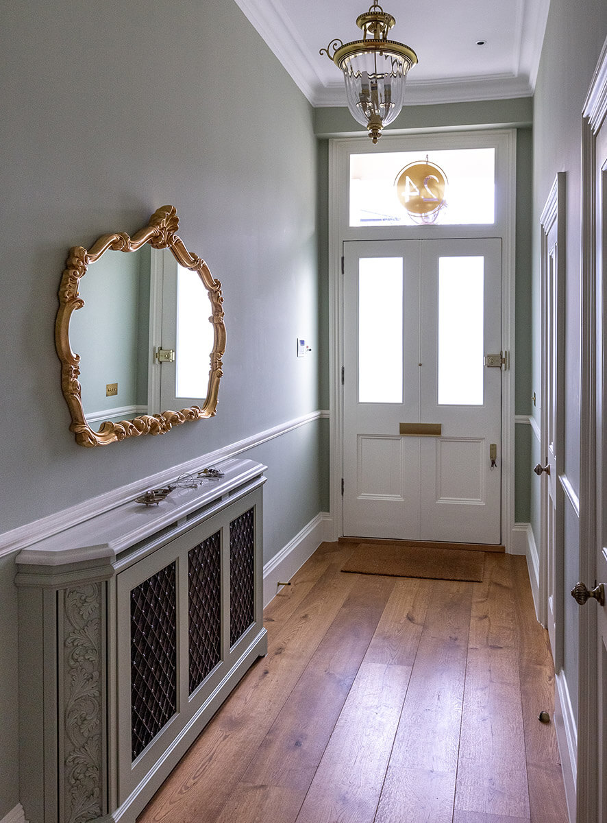 fully renovated hallway in grade II listed house in St John's Wood, Lodnon