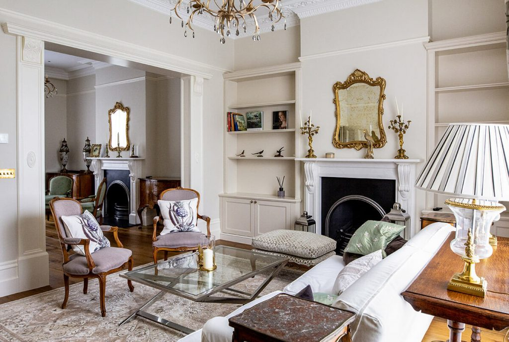 residential interior design for a Grade II listed House with antique furniture and unique decor in Sr John's Wood, London