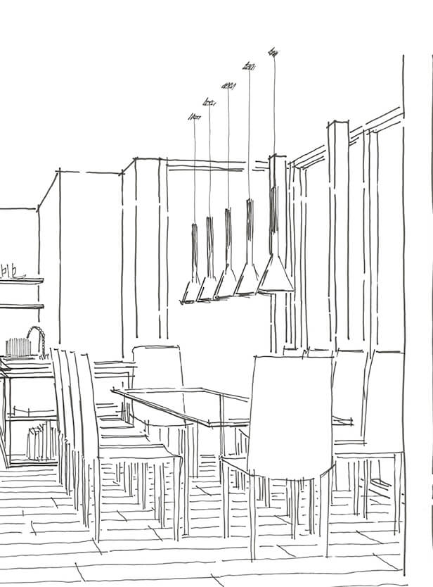 Cholmeley Park Sketch for kitchen with dining area in Highgate, London