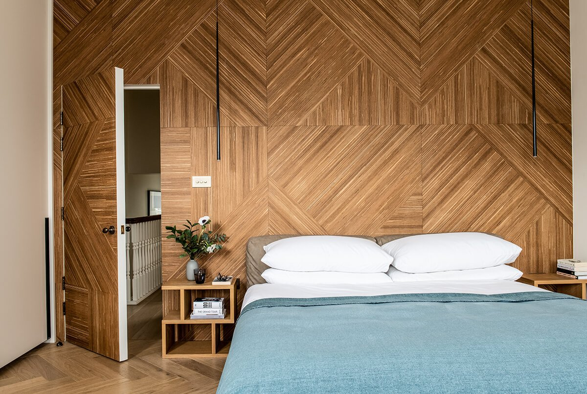 residential interior design in Bromley, London, Master bedroom with the wooden wall