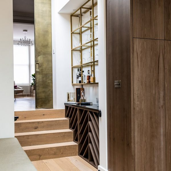 residential interior design for Victorian house with bespoke bar in Bromley, London