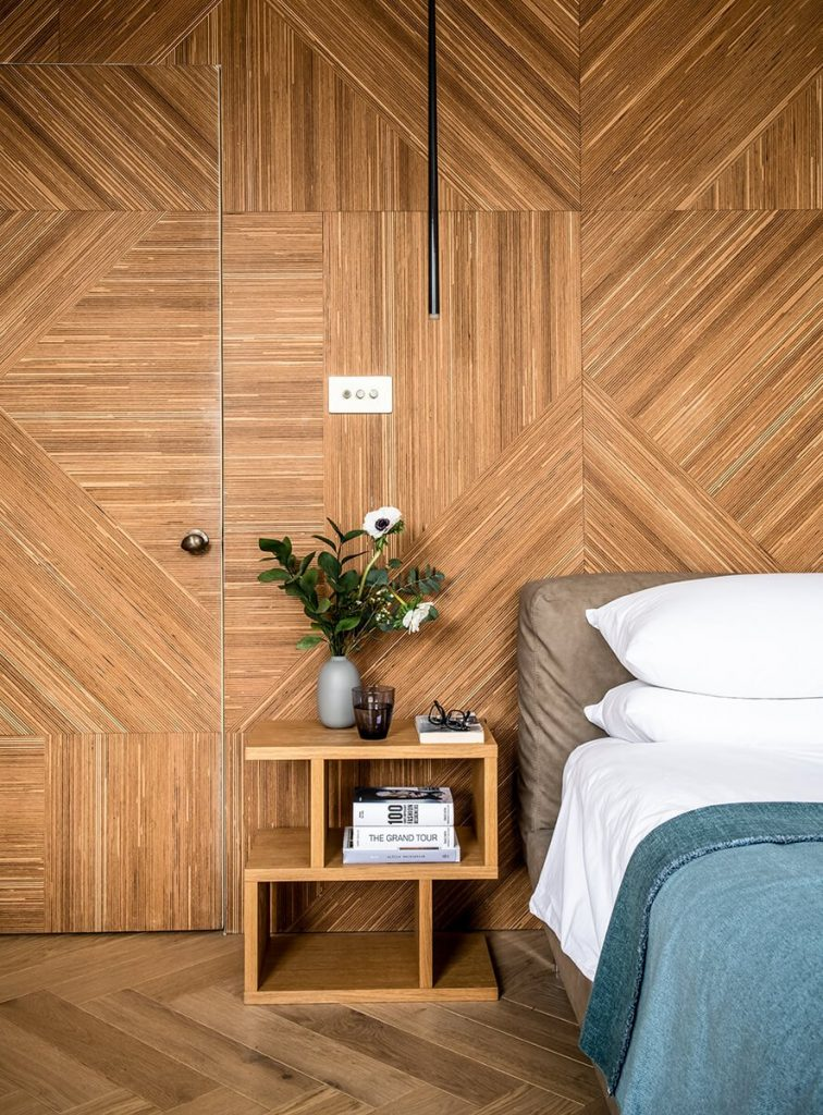 residental interior design in Bromley, London, Master bedroom with the wooden wall