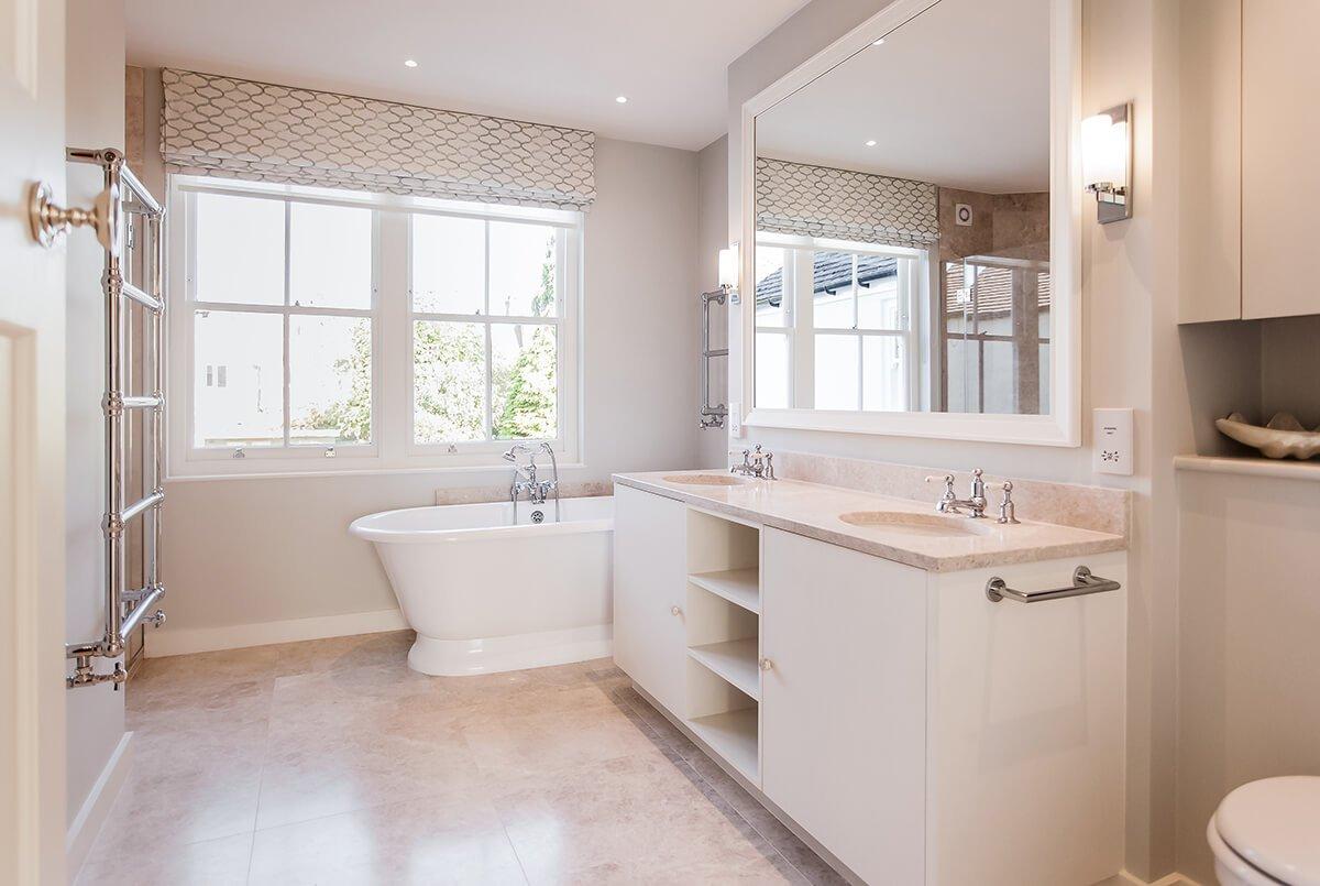 spacious bathroom with a free standing bath, Wandsworth, London