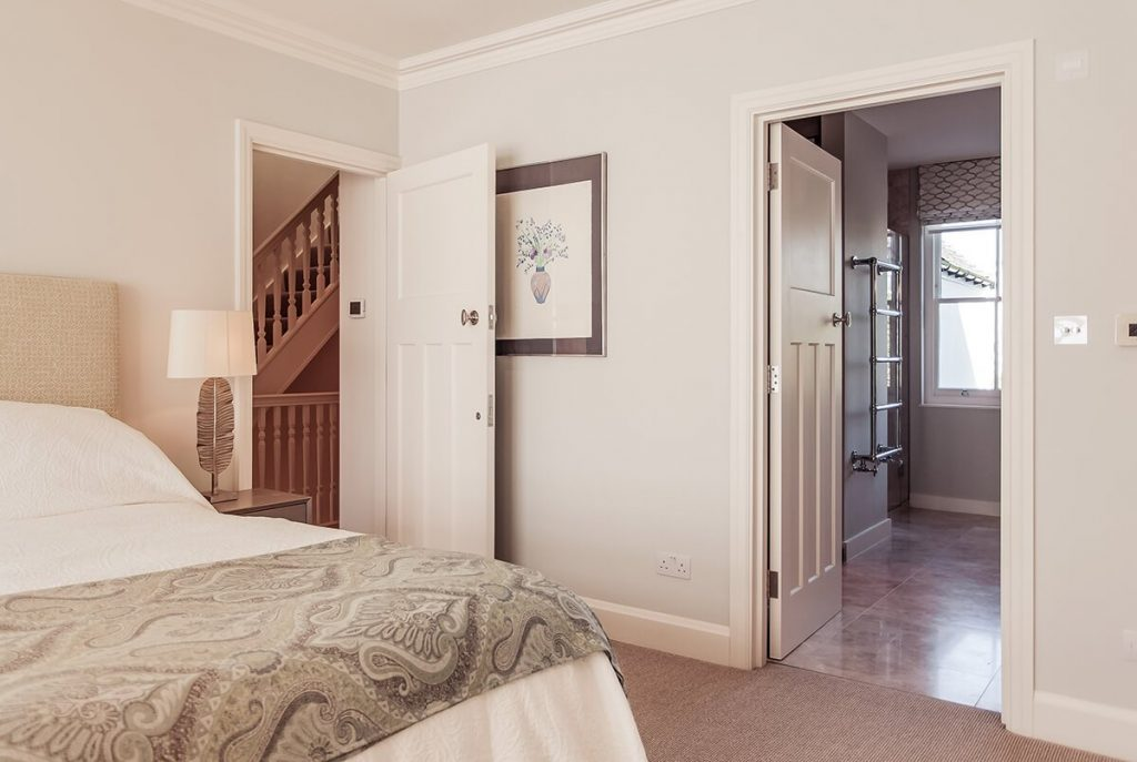 light and spacious master bedroom in neutral colours, Wandsworth, London