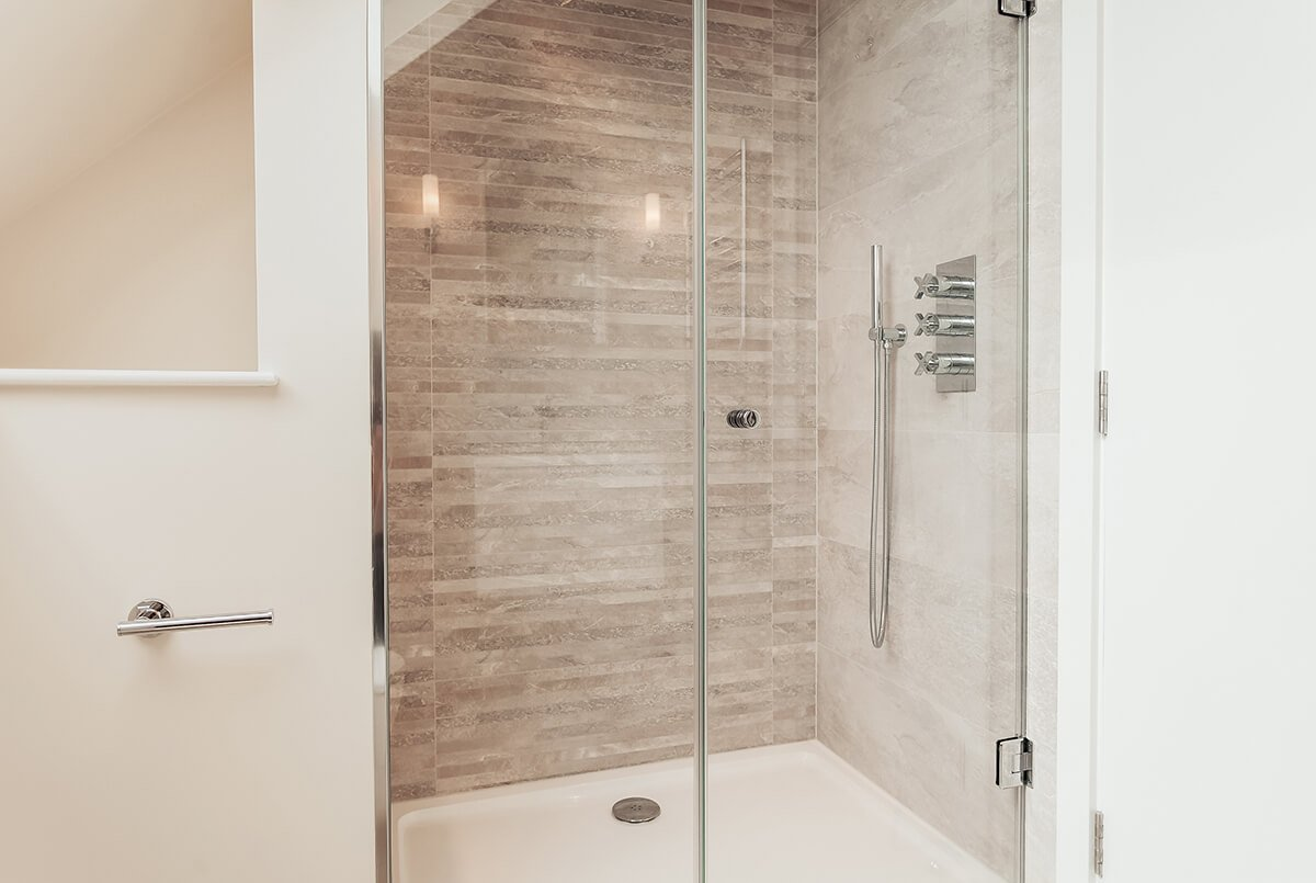 light, small bathroom with shower stall, Wandsworth, London