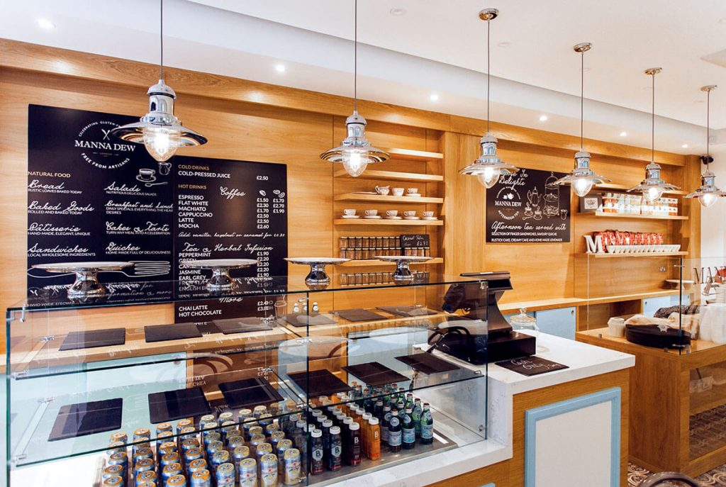 commercial interior design and fit out for cafe and bakery in Battersea London