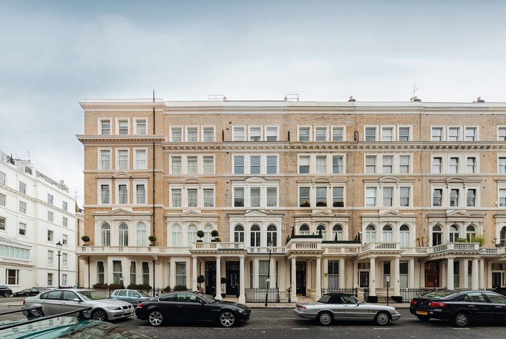 panorama of the london street in South Kensington, London