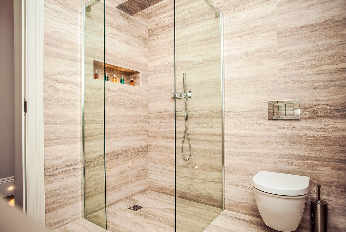 interior design for a bathroom with a shower stall, Kensington, London