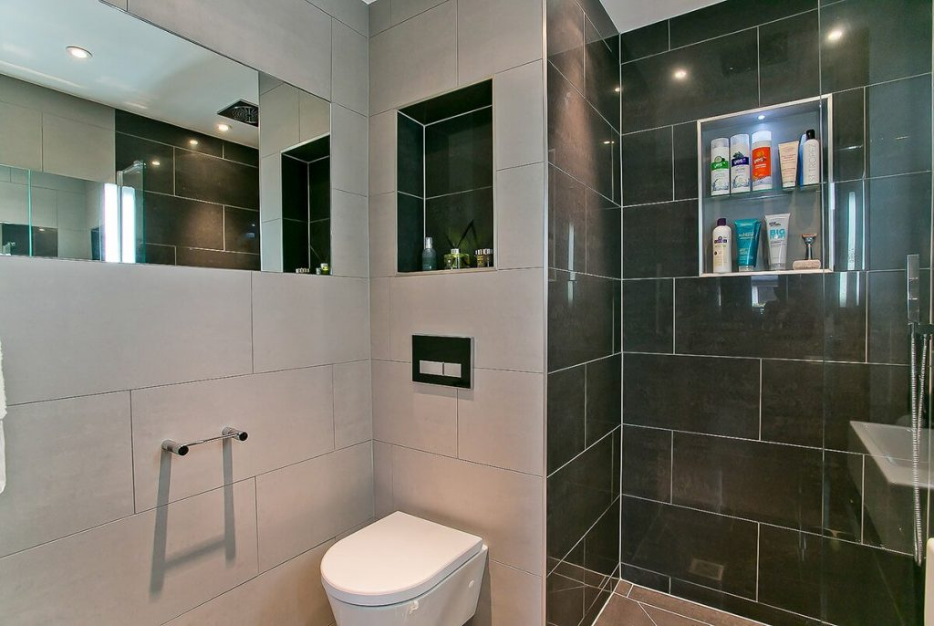 black and white minimal bathroom, Wapping, London