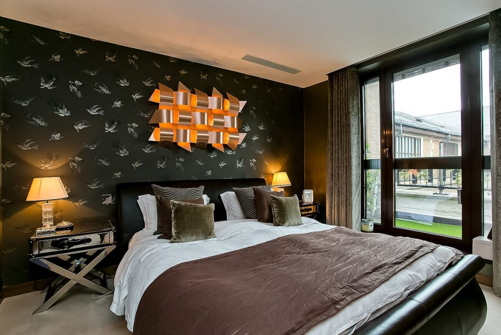 residential interior design for luxury master bedroom with designers furniture in Wapping, London