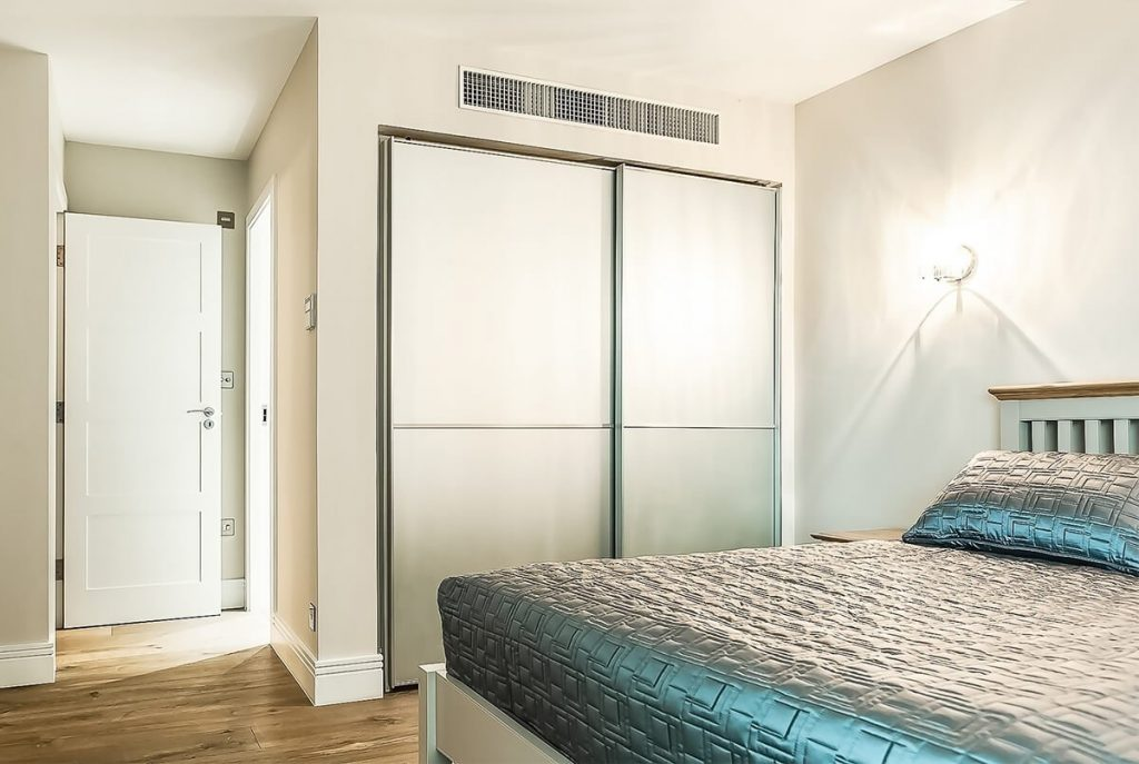light and elegant interior design for master bedroom with stunning designer wallpapers in the master suite, Wapping