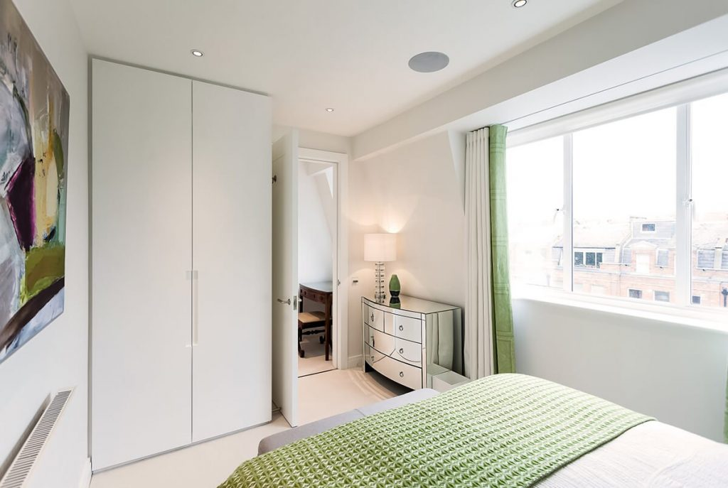 residential interior design for light bedroom with built in storage, Chelsea, London