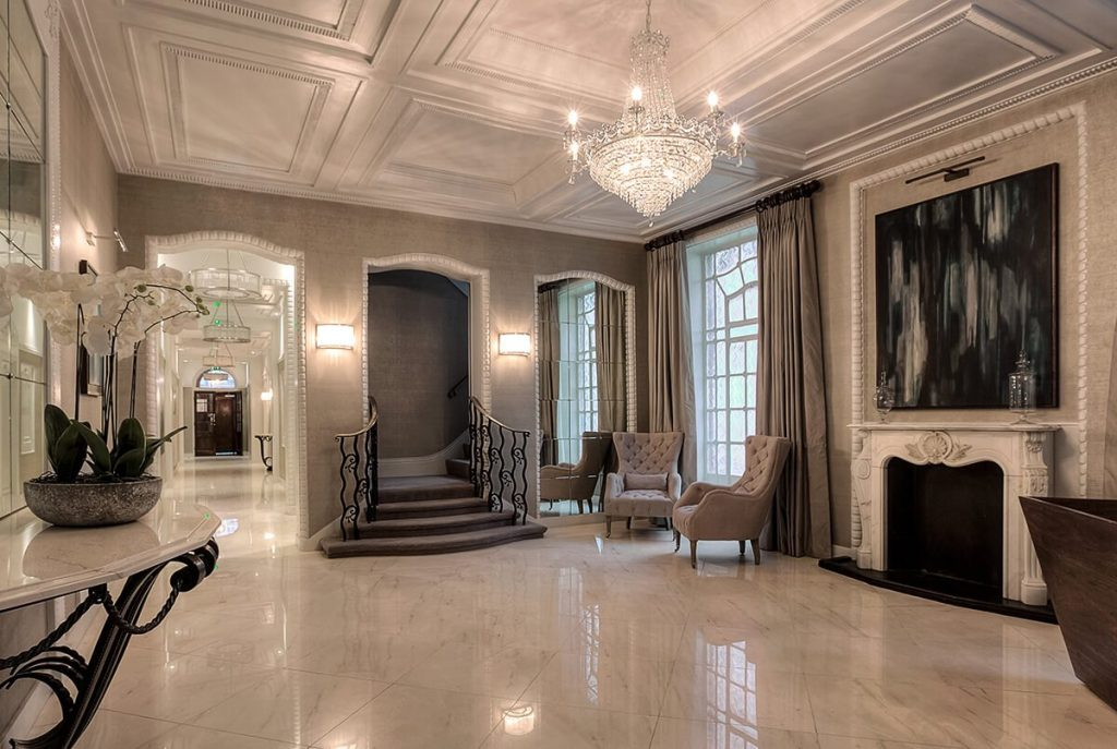 grand and spacious interior design for a luxury room with fireplace and marble floor, Mayfair, London
