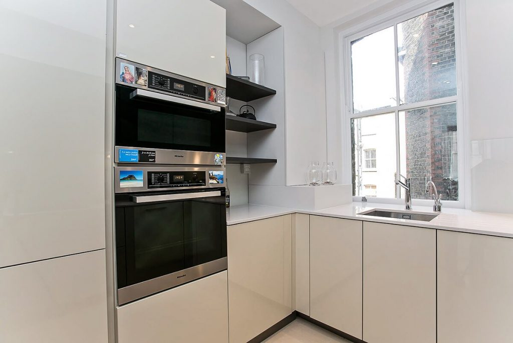 small yet practical neutral kitchen in Marylebone, London