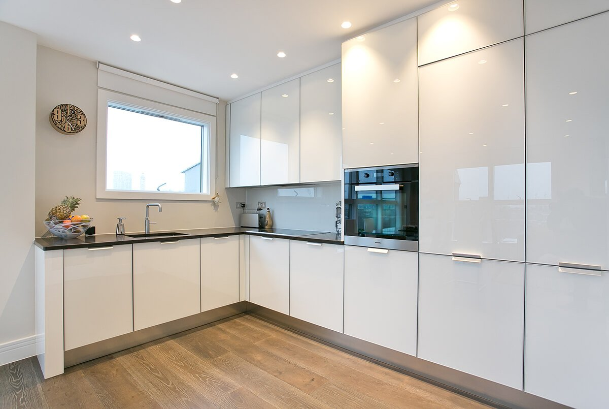 residential interior design for light and spacious kitchen with custom made cabinets in Westminster, London