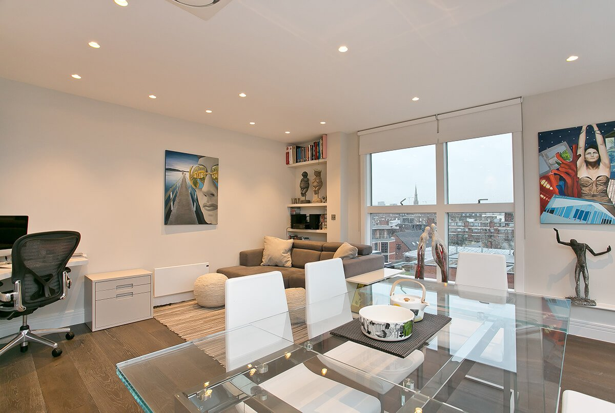 residential interior design for a Penthouse Apartment Renovation in Pimlico, London, with open plan space, floor to ceiling windows
