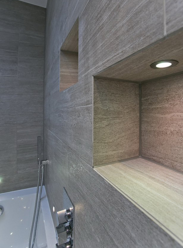 interior design for bathroom in neutral colours with niche in London