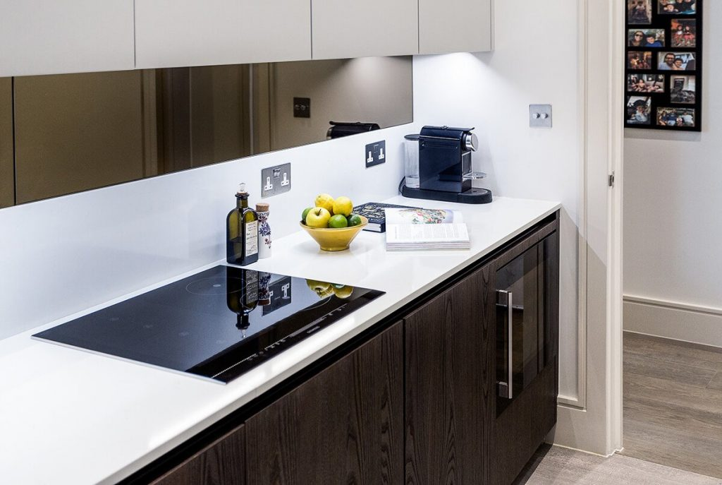 Bespoke mirrored splash back at our Netherhall Gardens Project, Hampstead, Londo