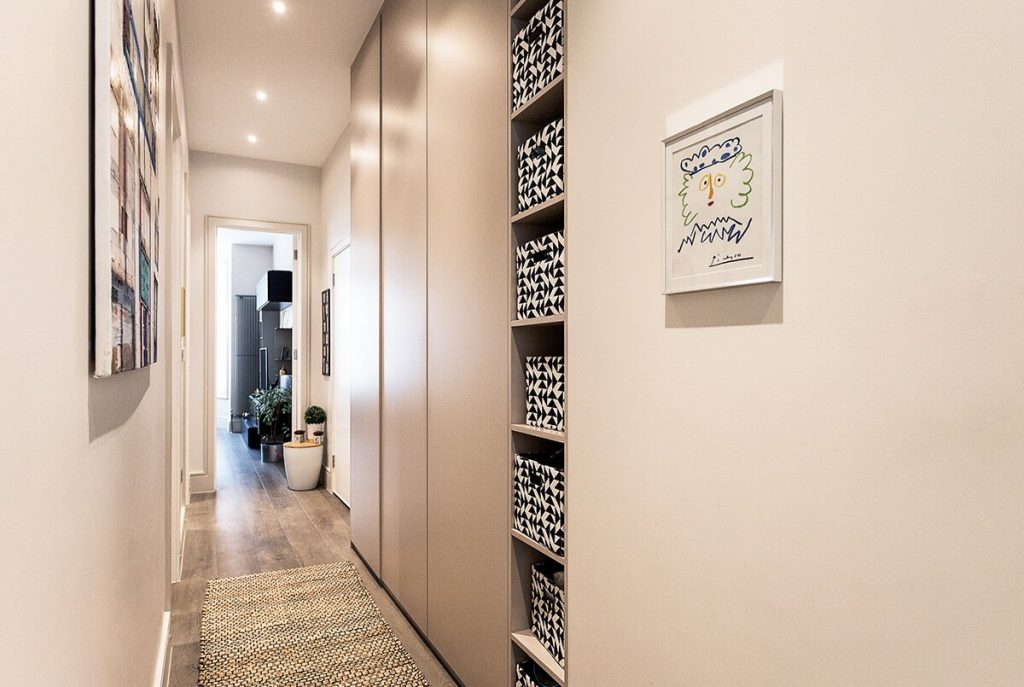 residential interior design with Bespoke hallway joinery solution In Hampstead London