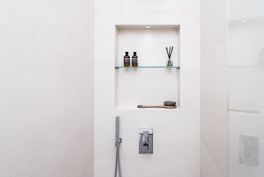 Stylish and minimalist bathroom at our Netherhall Gardens Project, Hampstead, London