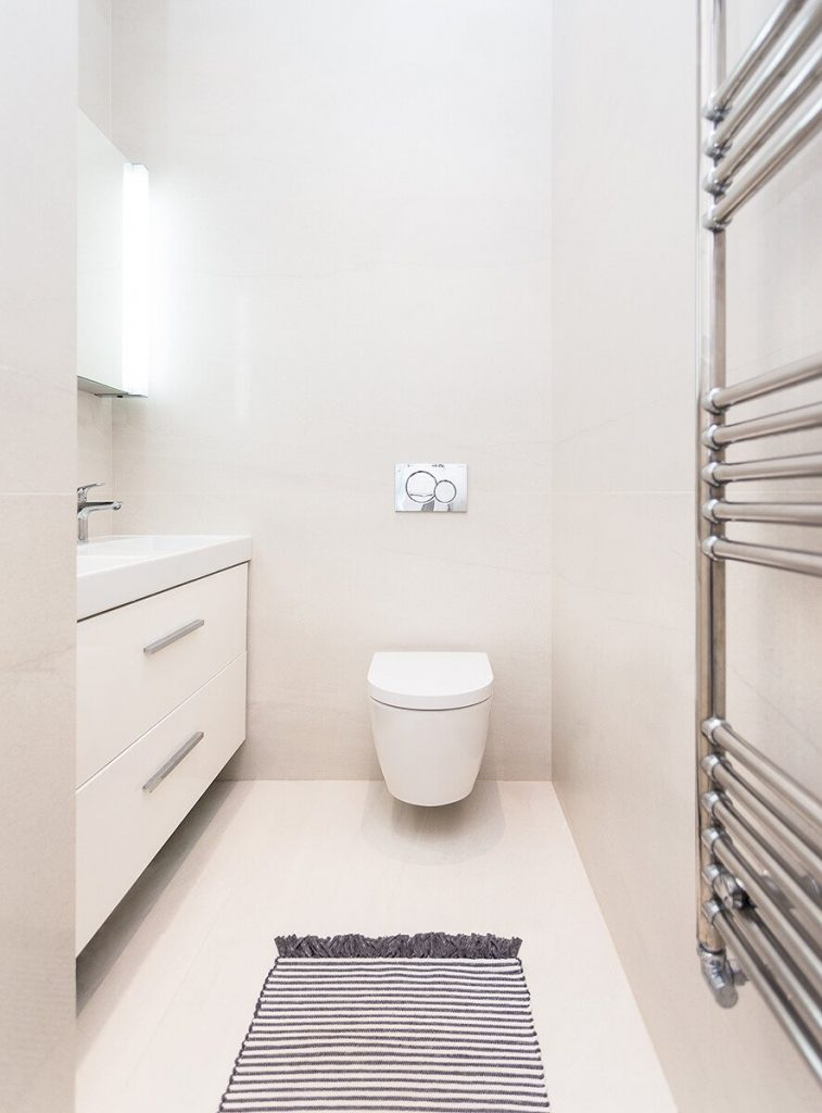 Simple and minimal bathroom at our Netherhall Gardens project, Hampstead, London