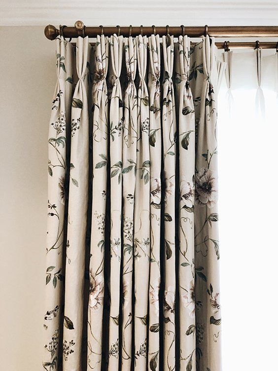 neutral colour floral curtains in light bedroom, St john's wood, London