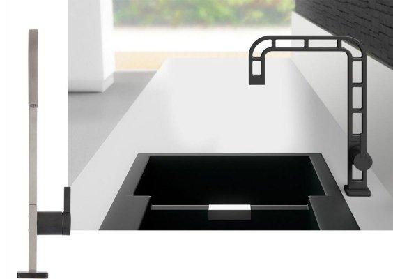 contemporary black brassware finish for bathroom and kitchen faucet designed by Massimiliano Settimelli