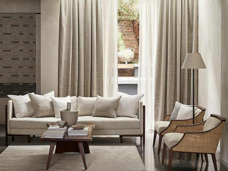 residential interior design for spacious neutral colour reception room with comfy earthy sofa and armchairs and beautifulcurtains by @markalexander_ma