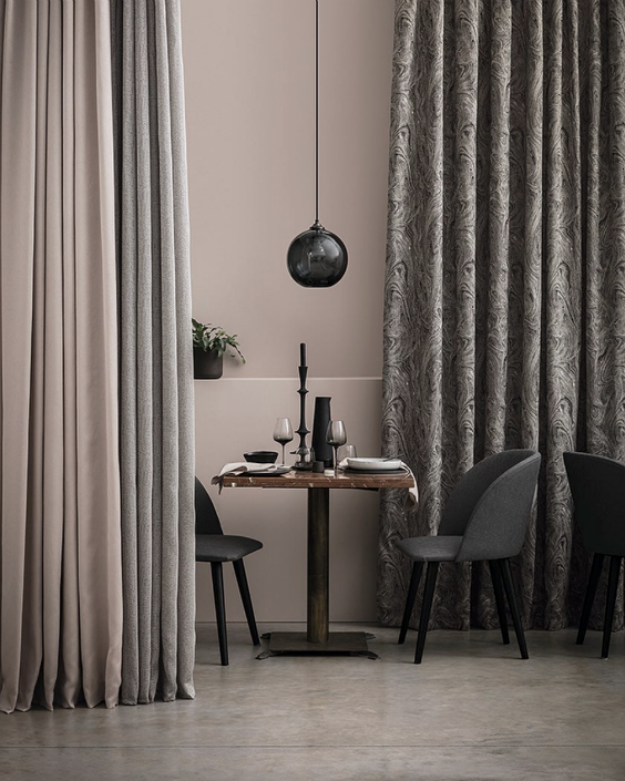 interior design for dining area with lond grey gradient curtains by @romo_fabrics