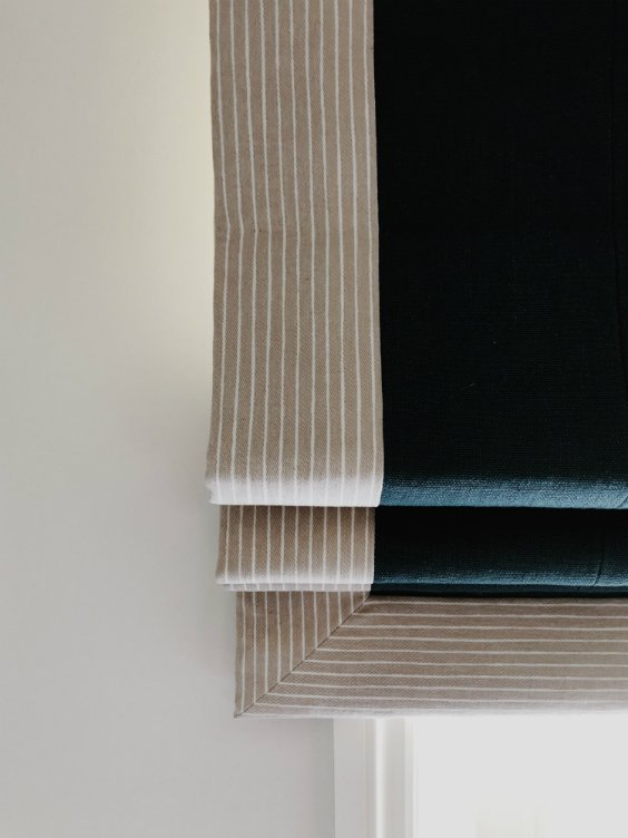 black and sand Roman Blinds