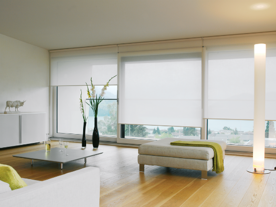 light and spacious minimal interior design with floor to ceiling windows, Roller Blinds by Silent Gliss