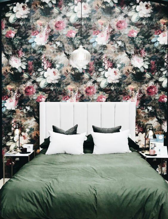 dreamy interior design for bedroom with floral wall and comfy bed