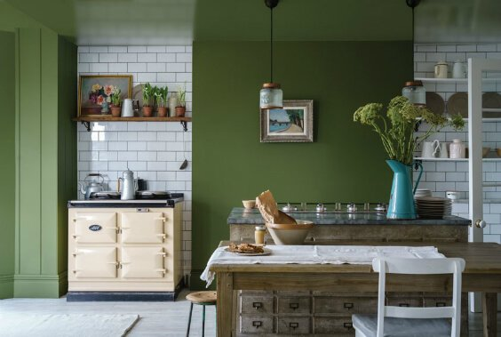 interior design for kitchen with green painted walls