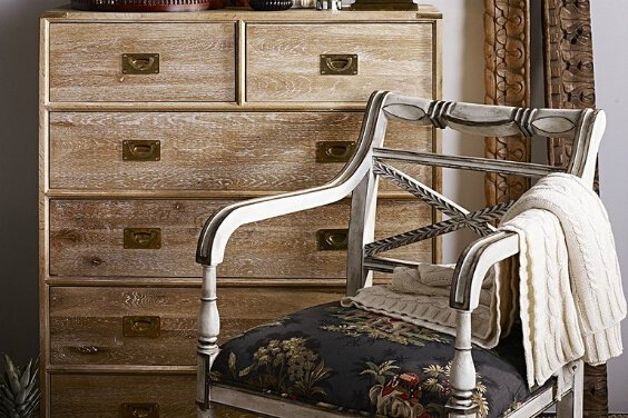 antique wooden armchair by India Jane