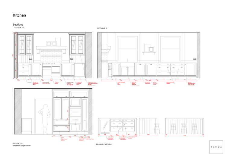 interior design sketch for kitchen in grade II listed house, London