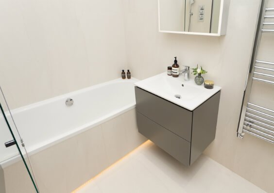 small yet practical bathroom in white colours in London