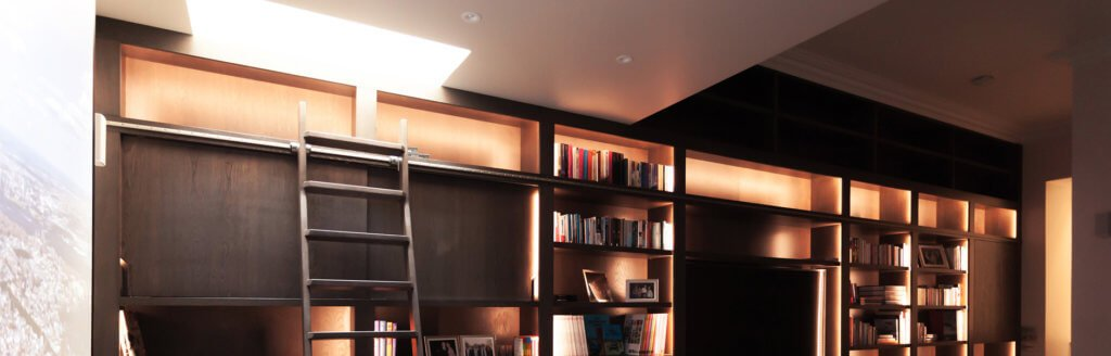 Contemporary Bespoke Joinery Unit with additional open and closed storage and home library and cinema, Chelsea London