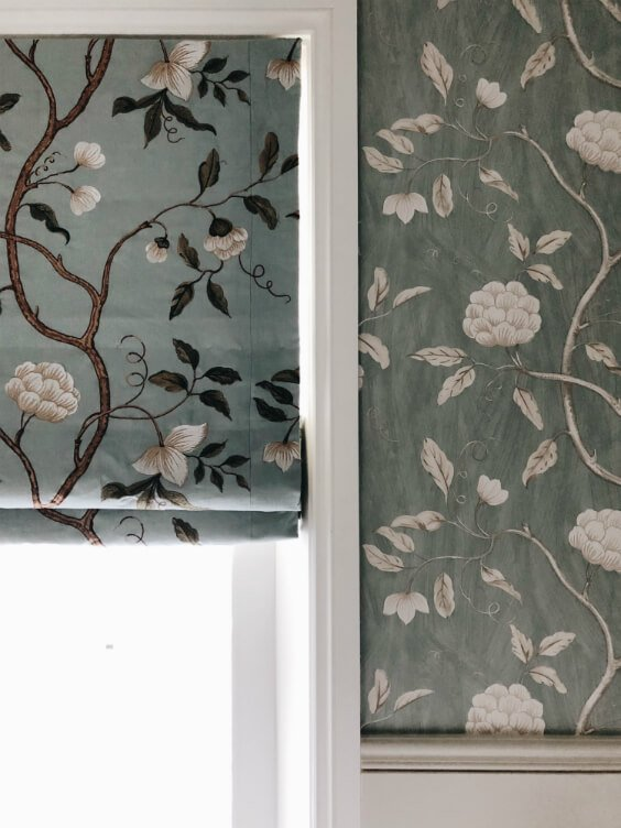 full renovation of bathroom in traditional style with floral roller blinds, wallpapers and free standing bath in St. John's Wood, London