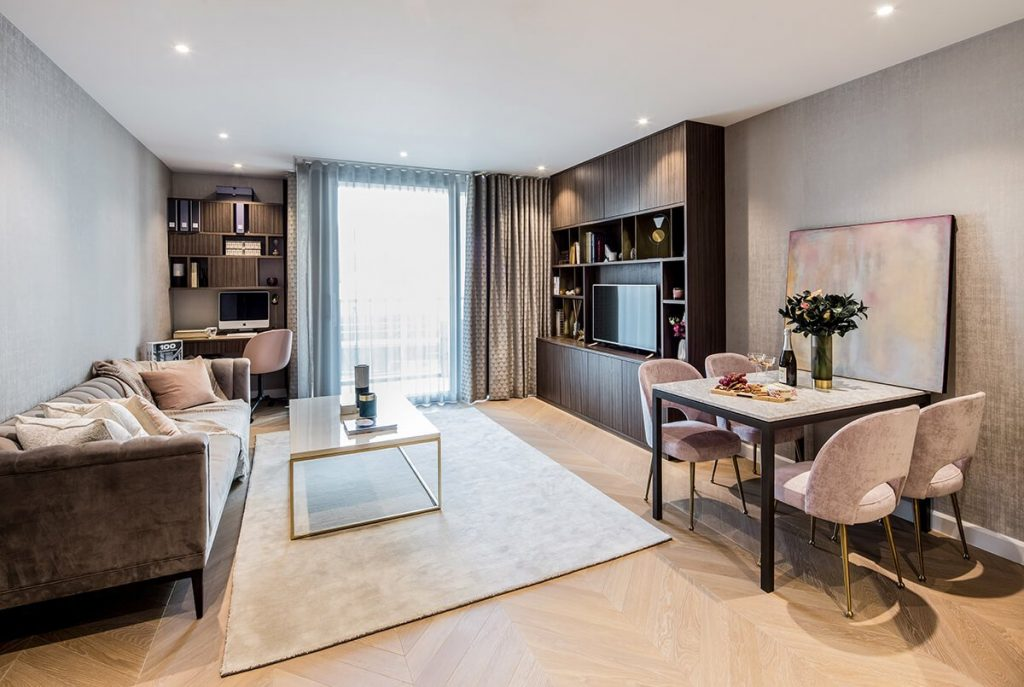 residential interior design for modern light living room with dining area in apartment in Westminster, London