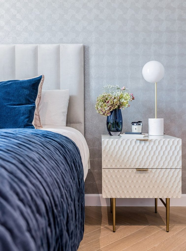 grand and spacious master bedroom with designer furniture and high-end accessories, Hampstead, London