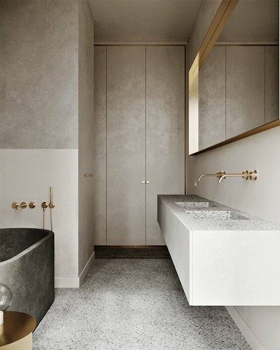 bathroon interior design with terrazzo floor, freestanding grey bathtub and terrazzo sink