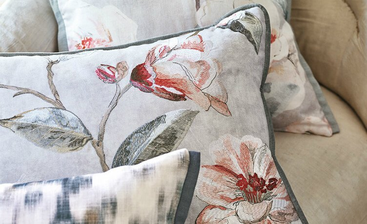 floral cushions by Romo fabrics