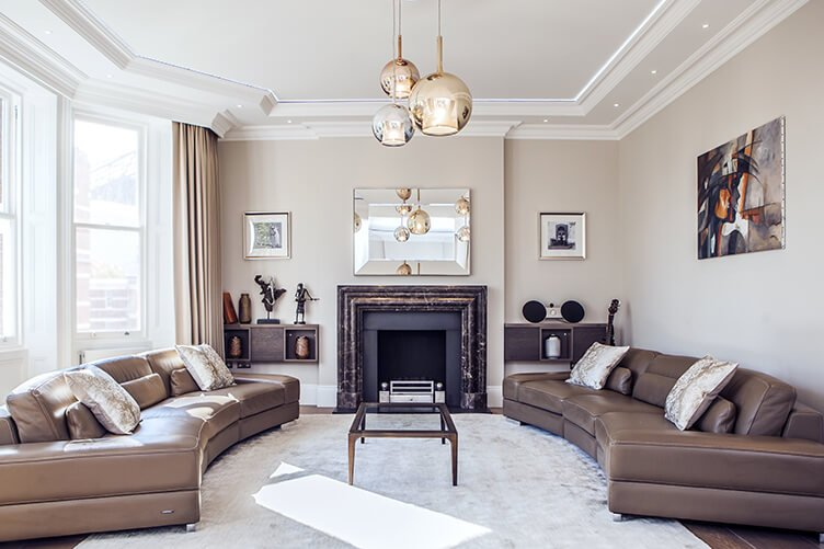 Light and spacious contemporary design Reception area in a neutral colour palette and designer accessories