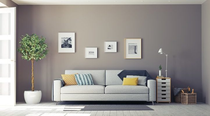 interior design for a spacious reception room in neutral paint colour with light grey sofa, bright cushions, small pictures and large plant, London